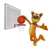 Dog playing in basketball Royalty Free Stock Photography
