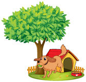 A dog playing beside a doghouse under a tree. Illustration of a dog playing beside a doghouse under a tree on a white background stock illustration