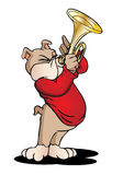 Dog playing trumpet. Brown Puppy Dog standing and playing trumpet in city background vector illustration