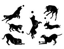 Free Dog Playing With A Ball. Black Silhouette Stock Photography - 99297242