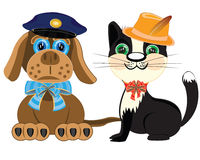 Dog police and cat in hat Stock Photography