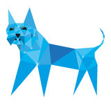 The dog in the polygonal style with glitter. For advertising vector illustration
