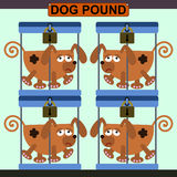 Dog pound. Illustration of four dogs in a cage inside a dog pound vector illustration