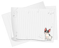 A dog printed on a white paper with musical notes Royalty Free Stock Image