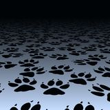Dog prints. Editable vector design of dog paw prints on a floor Stock Images