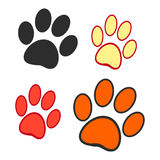 Dog prints on a white background. Set of vector illustrations Stock Image