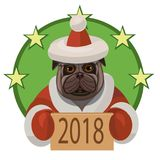 Dog pug happy new year 2018. Dog pug wishes everyone a happy new 2018 year and wishes everybody a lot of true friends and good mood Royalty Free Stock Image
