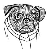 Dog pug head vector. Animal illustration for t-shirt. Sketch tattoo design Royalty Free Stock Image