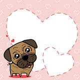 Dog (Pug) with sweet card Royalty Free Stock Images
