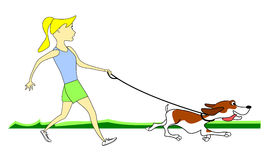 Dog Pulling Leash. Girl walking dog pulling and tugging leash stock illustration
