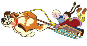 Dog pulling sledge with kids Royalty Free Stock Photos