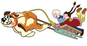 Dog pulling sledge with kids royalty free illustration