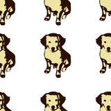 Dog puppie Golden retriever seamless pattern Stock Photo