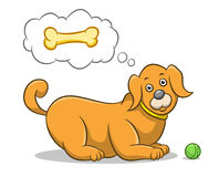 Dog, Puppy, Pet, Animal. Hungry dog thinking about dog food. Best for dog, pet, animal concept Royalty Free Illustration