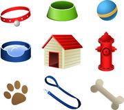 Dog Puppy pets icons. Dog pets stuff icons, with collar, dog dish, ball, water dish, dog house, dog water bomb, paw print, dog leash and dog bone  illustration Royalty Free Stock Photography