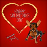 Dog puppy small happy brown terrier and heart valentines place for text red background vintage vector illustration editable. Hand draw royalty free illustration