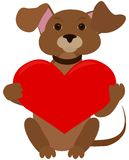Dog with red heart Royalty Free Stock Photography