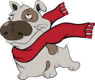 Dog with a red scarf. Cartoon Stock Image
