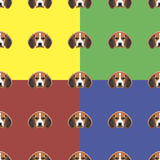 Dog red, yellow, blue and green vector background. Seamless pattern. 4 in 1. Royalty Free Stock Images