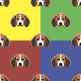 Dog red, yellow, blue and green vector background. Seamless pattern. 4 in 1. Stock Images