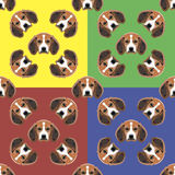 Dog red, yellow, blue and green vector background. Seamless pattern. 4 in 1. Stock Photography