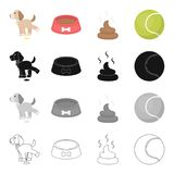 Dog related icon set. A puppy to urinate, a bowl with food, a pile of feces, a toy ball. The puppy set collection icons in cartoon black monochrome outline style Stock Photo