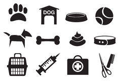 Dog Related Vector Icons. Vector illustration of dog related objects. Black and white icon set Royalty Free Stock Photos