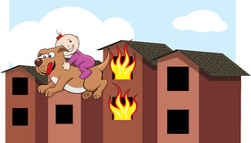 Dog rescues baby. Illustration of a dog rescuing a baby from a fire Royalty Free Stock Photos