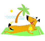 Dog resting on the beach. Vector illustration on vacation theme. Dog resting on the beach with a glass of cocktail. Summer pet with water waves and palm and sun Stock Photo