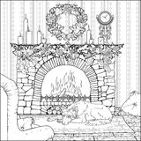 Dog resting in front of christmas decorated fireplace. Image of dog resting in front of christmas decorated fireplace. Coloring page Stock Image