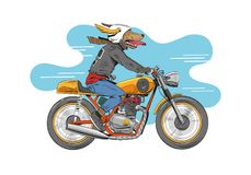 Dog is riding a classic motorcycle. Hand drawn vector illustration design concept. Dog is riding a classic motorcycle.Hand drawn silhouette sketch classic Royalty Free Stock Image