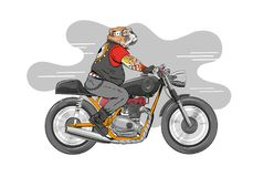 Dog is riding a classic motorcycle. Hand drawn vector illustration design concept. Dog is riding a classic motorcycle.Hand drawn silhouette sketch classic Stock Photos