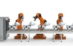Dog robot production line. 3d rendering robot assembly line manufacturing dog robots vector illustration