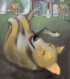 Dog rolling in dirt. Digital painting of cute dog rolling in dirt and enjoying it Royalty Free Stock Image