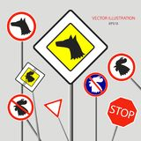 Dog and rooster on the road sign for the new year 2018.  vector illustration