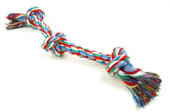 Dog rope toy. Coloured dog rope toy with three knots stock images