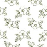 Dog-rose flowers on white background seamless pattern