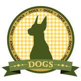 Dog rosette. Vector dog logo with ribbon Royalty Free Stock Images