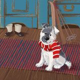 Dog on a rug. Cute puppy in a striped scarf sits on a rug in anticipation of a winter walk Royalty Free Stock Photography
