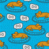 Dog on rug sleeps pattern. Home pet dream background.  Royalty Free Stock Images
