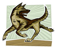 Dog Running. And gnarling and looking back royalty free illustration
