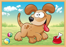 Dog is running in meadow stock illustration