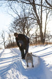 Dog running to his owner. In the snow royalty free stock photography