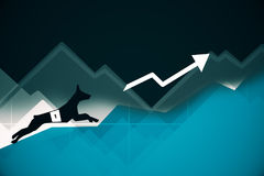 Dog running up business graph. Side view of abstract dog figure running up blue business graph with arrow. Success concept. 3D Rendering Stock Image