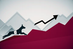Dog running up red chart. Side view of abstract dog figure running up red business charts with arrow. Success concept. 3D Rendering Royalty Free Stock Image
