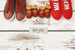 Dog`s boots and human gumshoes. Stock Images