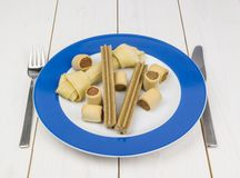 A Dogs Dinner. Dog biscuits and bone on a dinner plate at the table Stock Images