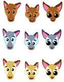 Dog`s faces 02. Dog heads - swinging in three color variants for logo, souvenirs keychain, cup, T-shirts, cardn games, interface elemets, backgrounds, patterns Royalty Free Illustration