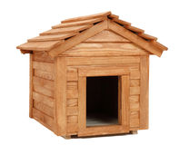 Dog's house. Small wooden dog's house  on white Stock Photos