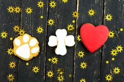 A dog`s paw plus a red heart. Stock Images